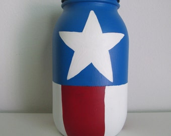 Hand-Painted Captain America Inspired Mason Jar Piggy Bank