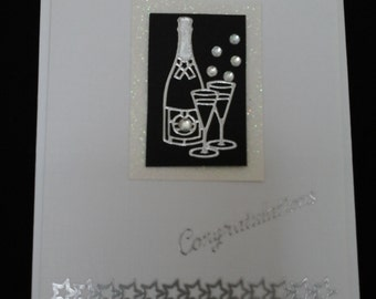 Congratulations card, monochrome, black and white, wine bottle and glasses, stars