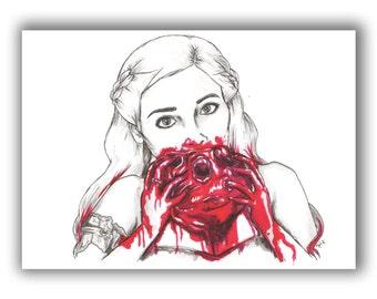 "Khaleesi Horse Heart ""The Stallion Who Mounts The World"" Game of Thrones A5 Illustration Print"