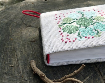 """Fabric cover embroidered notebook """"Clovers"""" - Eco notebook with cross-stitch - Green recycled blank notebook - Eco-friendly fabric notebook"""