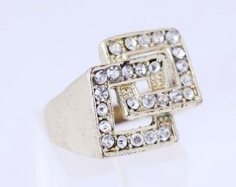 925 silver ring plated 14k gold with clear zircons