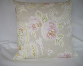 Floral shabby chic, vintage roses pretty floral cushion cover.