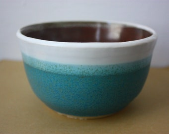 Turquoise, white, and earth-colored bowl with clean, modern lines - beautiful clay pottery - functional handmade stoneware