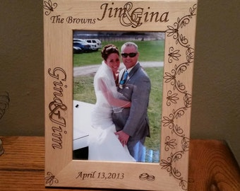 Personalized Laser Engraved Wedding Picture Frame 3 sizes available