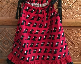 Scottie Dog Dress, Childrens Dress, Girls Dress, Handmade Dress