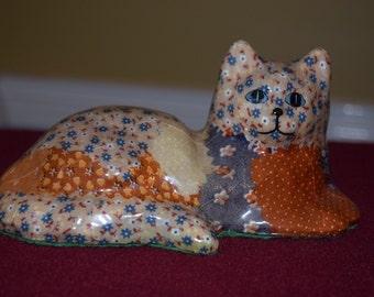 Vintage patchwork decopage cat
