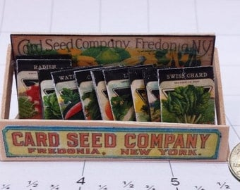 Vintage Antique Miniature General Store Fairy Garden Vegetable Fruit Seeds / Seed Packet 1:12 Mercantile Display Stand
