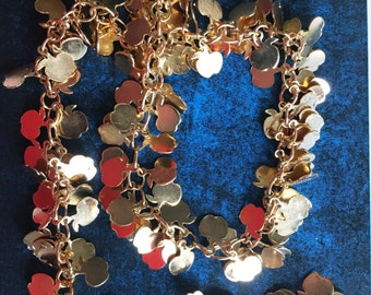 Gold tone apple charmed chains [10 inches]