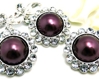 PLUM Pearl Buttons W/ Crystal Clear Surrounding Rhinestones Bouquet Sewing Buttons Embellishments 26mm 3185 61P 2R