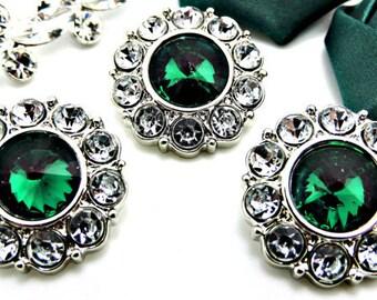 Wholesale Emerald Green Rhinestone Buttons w/ Clear Surrounding Rhinestones Acrylic Buttons DIY Embellishment Wedding Fashion 25mm 2997 6 2R