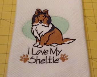 I Love My Sheltie Embroidered Kitchen Hand Towel, Williams Sonoma All Purpose, 100% cotton & Extra Large