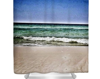 Shower Curtain Walking on Beach