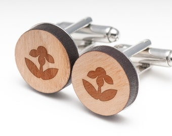 Black Eyed Susan Wood Cufflinks Gift For Him, Wedding Gifts, Groomsman Gifts, and Personalized