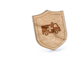 Ambulance Lapel Pin, Wooden Pin, Wooden Lapel, Gift For Him or Her, Wedding Gifts, Groomsman Gifts, and Personalized