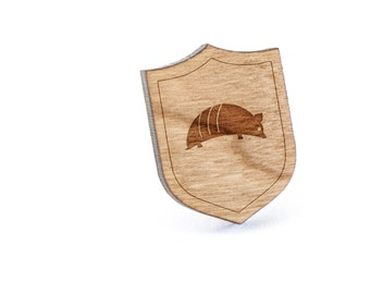 Armadillo Lapel Pin, Wooden Pin, Wooden Lapel, Gift For Him or Her, Wedding Gifts, Groomsman Gifts, and Personalized