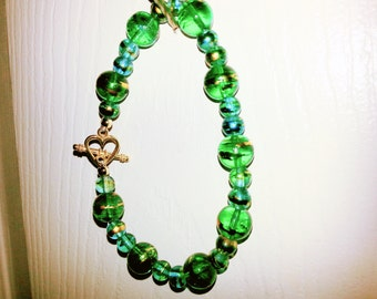 blue-green multi-color glass bead bracelet