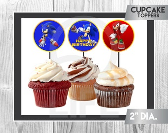 SONIC Cupcake Toppers, Sonic Cupcake Toppers, Sonic Party