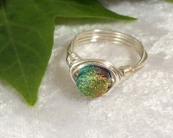 Ring/Boho/Hippy/Silver Wire Wrapped/Multi-coloured sparkles