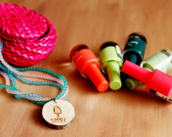 Wooden. Beaded. Pink. Green. Blue. Necklace. Summer. Ice Cream. RDF Handmade. Natural. Woman.