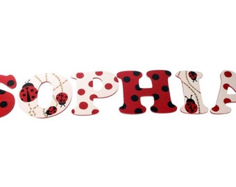 Hand painted lady bug letters