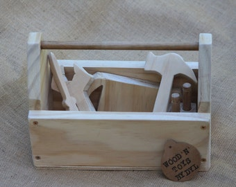 Troy - Handmade Wooden Toy Tool Box w/ Tools (name optional)
