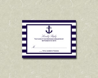 "3.5"" x 5"" Nautical Anchor Navy Stripe Wedding RSVP Card Digital File"