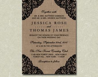 "5"" x 7"" Black Lace On Rustic Burlap Wedding Invitation Digital File"