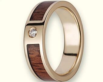 14K Gold Wedding Ring With Koa Wood Inlay & a Diamond - 6mm