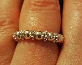 Silver Bead Ring with Spacer Beads