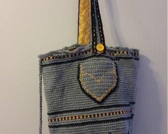 Blue Patterned bogo style bag