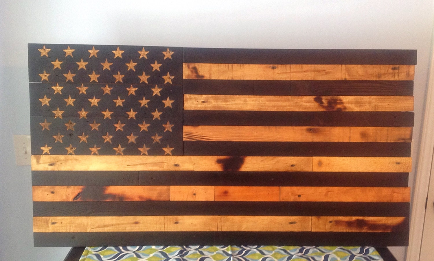Model Hand Carved Rustic American Flag Burned Wood Art Https