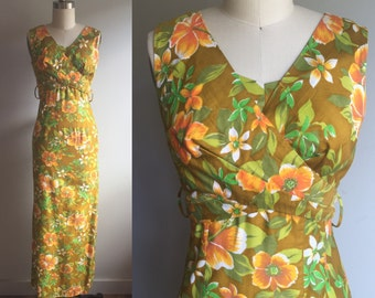 1950's Tiki Hawaiian Floral Maxi Dress by 'The Sample Shop' - Small