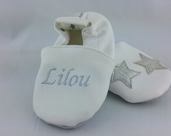 Soft leather slippers and faux leather, baby, boy, girl, child, custom bezel, silver stars