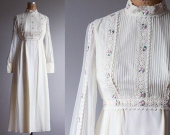 1970s Flower Child Wedding Gown