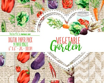 Vegetable Garden Digital Paper Pack Instant Download Printable Watercolor Vegetables Healthy Food Printable Green Red Purple Orange 6x6