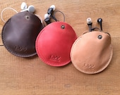 Leather Earphone case Cable organizer Earphone holder