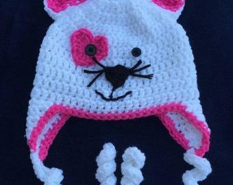 Kitty Hat, Cat hat, handmade Crochet hat, white kitty hat, girl hat, baby hat, photo prop, winter hat, animal hat