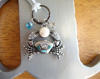 Crab, freshwater pearl and suede necklace