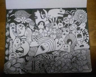 Doodle kawaii with zentangle
