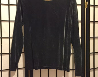 Dark Gray Velvet Long Sleeve -Medium