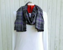 Purple Scarf, flannel Plaid Long Scarf, Purple Plaid scarf, Womens scarves, Black and grey scarf,  Gifts for her Christmas, Gifts under 20