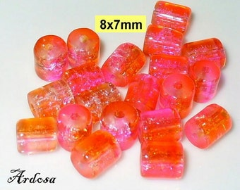 20 Crackle beads tube 8x7mm pink orange (K896. 1)