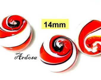 3 Lampwork beads 14mm red, white, black (K4. 14)