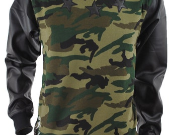 Camo and Leather Sweat Shirt