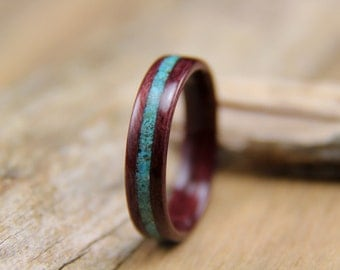 Bentwood Ring - Purpleheart with crushed Turquoise Inlay - Handcrafted Wooden Ring