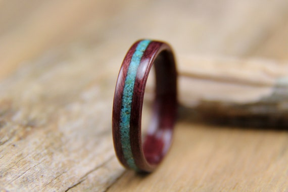 Crushed Amethyst Inlay : Bentwood ring purpleheart with crushed turquoise inlay