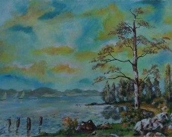 Small landscape acrylic painting -  painting on no stretched canvas, contemporary art