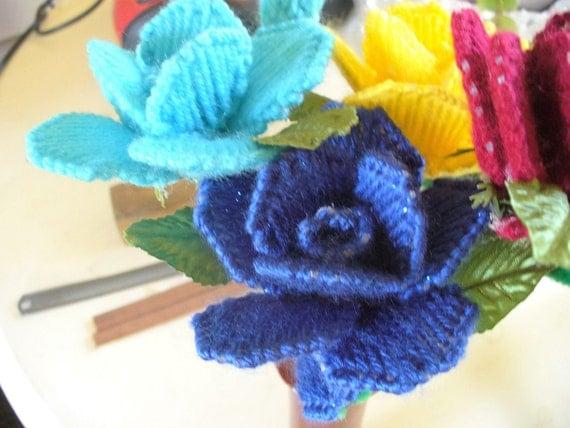 Long stem blue rose by lynnswhatknotshoppe on etsy for Blue long stem roses