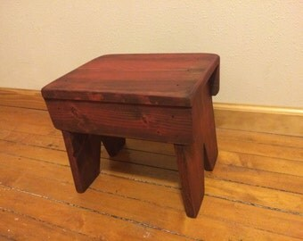Rustic Red Painted Stool