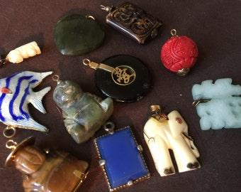 Vintage Gemstone Asian Charm Collection Bracelet Charms